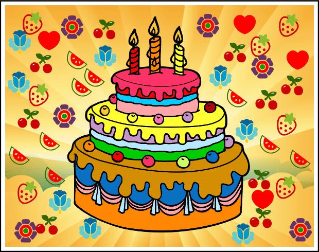 tarta de cumpleaños con velas